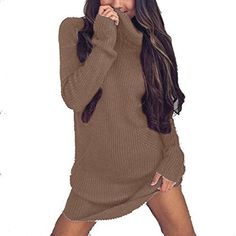 Halfword Women's Casual Turtleneck Long Sleeve Mini Knit Pullover Sweater Tops