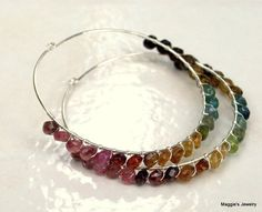 Tourmaline Hoops Sterling Silver Gemstone Hoops by maggiesjewelry
