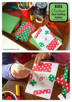 #Kids #Christmas Craft - Card Making Station - B-Inspired Mama