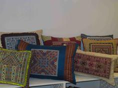 Barjis Design  cushion Palestinian embroideries under Barjis' spell#sofas #sofa #livingrooms #cushions #eclectic #barjis #lebanon #fabrics #colours #designers #poufs #barjisdesign #furniture #beirut #patchwork #decor #interiordesign #lebanesedesigners