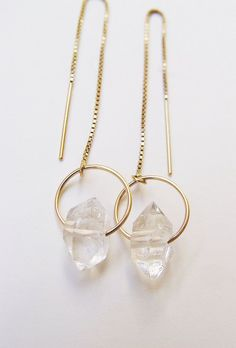 ON SALE Herkimer Diamond Gold Chain Earrings by friedasophie