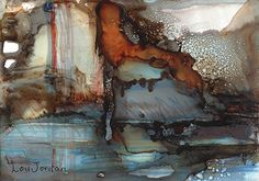 """""""Canyon Pool""""Original Contemporary Abstract Mixed Media, Alcohol Ink Painting by Contemporary New Orleans Artist Lou Jordan-5""""x7"""" x1"""" Original Painting-Available-$75.00"""