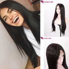 Human Hair Silky Straight Lace Wigs
