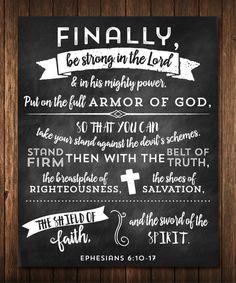 Ephesians 6:10-17 Scripture Quote Chalkboard Poster