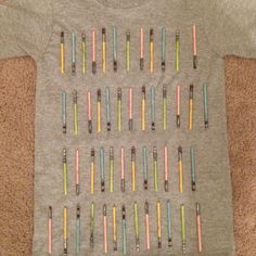 Day of School Shirt with mini Light Sabers. Glow in the dark paint 100 Days Of School Project Kindergartens, 100 Day Of School Project, First Day Of School, School Projects, Projects For Kids, Too Cool For School, School Fun, School Days, School Stuff