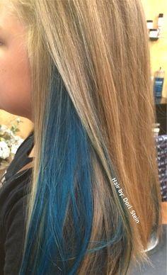Blue Streak In Blond Hari Google Search Hair Streaks Blue Hair Highlights Blonde And Blue Hair
