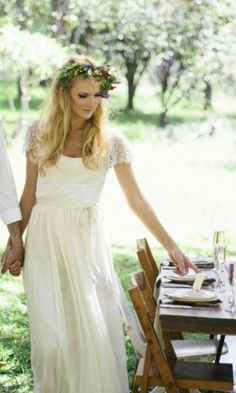 Beaded Cap Sleeve Wedding Dresses perfect for a bohemian bride Beach Bridal Gown