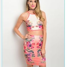 9eff5a318766 DHStyles Women's Peach Purple Plus Size Sexy Edgy Girly Floral Fitted Two  Piece Club Dress - Plus