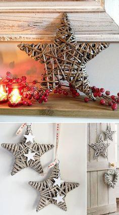 Decoración Artesanal para Navidad | Estrellas y corazones de mimbre para decorar tu boda                                                                                                                                                     Más