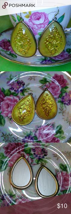Gold & Yellow Resin Costume Tear Drop Earrings These earrings are pretty tear drop shaped. They are costume quality. I measured about two inches in length from where they hang and about one inch wide. Jewelry Earrings