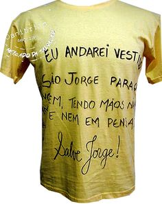 Camisa oração de são jorge escrita à mão.
