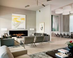 Modern White Living Room with Barcelona Chairs