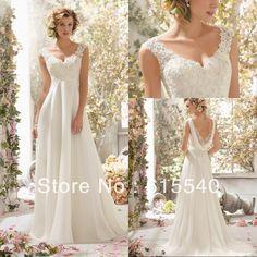 Empire Waist A Line V-neck White Chiffon Lace Top Beach Wedding Dresses Low Back Reception Prom Formal Long Dresses