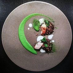 Most favourite dish - seared scallops with pea buttermilk and black rice pudding
