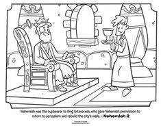 Download this free Nehemiah coloring page that shows Nehemiah asking King Artaxerxes for permission to return to Jerusalem. From What's in the Bible?....