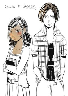 Celia and Jasper from the Magisterium The Iron Trial by Cassandra Clare and Holly Black (Drawn by http://aegisdea.tumblr.com/)