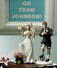 #1 Fan Cheering Bride Figurine - Wedding Cake Toppers - Wedding Essentials - Wedding Favors & Party Supplies - Favors and Flowers