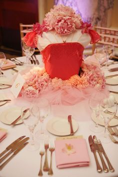"The pink tutu centerpiece represented ""Sleeping Beauty,"" one of Lauren's favorite ballets."
