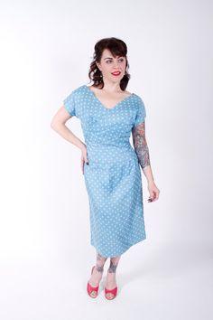 1950s Vintage Dress Pastel Blue Polka Dot Silk by stutterinmama, $84.00