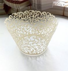 24 Laser cut Rose vine pattern cupcake wrappers for wedding or party