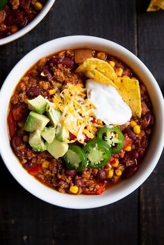 Seriously, The Best Healthy Turkey Chili - Perfectly spiced healthy chili made with lean ground turkey, kidney beans and corn.
