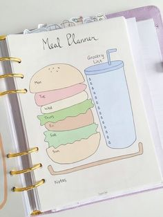 Cute Printable Page - Weekly Meal Planner (with Grocery List) - Shopping List - Burger Des. Cute Printable Page - Weekly Meal Planner (with Grocery List) - Shopping List - Burger Design - Menu Planner - Printable Meal Planner iDeas Pencil People ✏ Bullet Journal Notebook, Bullet Journal Ideas Pages, Bullet Journal Inspiration, Journal Pages, Journal Art, Journal Prompts, Bullet Journal How To Start A Layout, Back To School Bullet Journal, Bullet Journal Ideas Templates