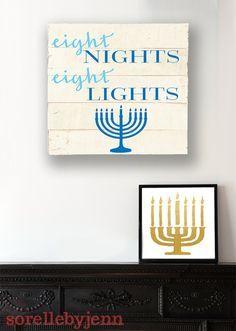 Eight Nights Eight Lights Pallet Sign Hanukkah by SorellebyJenn