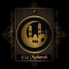 Happy Eid mubarak golden design