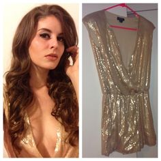 FLASH SALE Gold Sequin Romper Excellent Condition. Low cut. Sequins. Super gorgeous! Perfect for New Year's Eve! Hommage Los Angeles Dresses