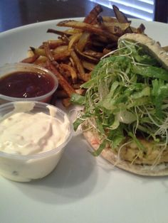 Seafood patty served on a multi-grain skinny sandwich bun with trater sauce,romaine and  alfalfa sprout salad. Then we have our own garlic fries served with bbq sauce