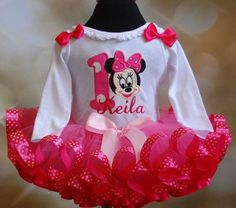 Minnie Mouse Number 1 Birthday Tutu Outfit