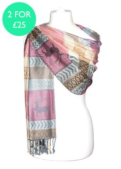This pretty patchwork pashmina shawl features a reindeer design, with the combination of pink, silver and gold giving it an overall subtle and classy sheen. Add a glamorous edge to your Christmas wardrobe with this gorgeous pashmina shawl.  All of our pashminas & shawls are sourced in Europe and it is our aim to retail highly