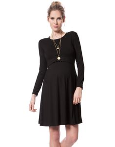 Lift up access for nursing   Soft stretch jersey   Long Sleeves   above the knee    Our classic little black maternity & nursing dress is an essential style for your new wardrobe. Made in super soft stretch jersey, the relaxed A-line skirt drapes effortlessly over your curves, offering a comfy, flexible fit before, during and after pregnancy. Easy lift-up nursing access at the front transitions this versatile LBD into your new mom wardrobe, while long sleeves and a chic open neckline make…