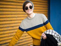 Mustard yellow, navy blue & grey