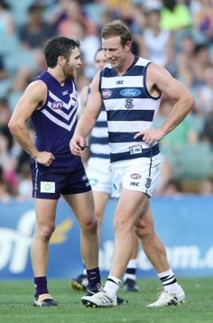 Steve Johnson reacts as Hayden Ballantyne stands nearby during the NAB cup game between Geelong and Fremantle on Saturday. West Coast Eagles, Australian Football League, Stevie J, Star Fox, Love My Boys, Great Team, Football Team, Rugby, Legends