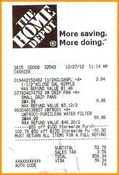 Home Depot Receipt Generator : depot, receipt, generator, Depot, Ideas, Depot,, Receipt, Template