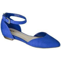 Women's Mossimo® Veronica Ankle Strap Two Piece Flats - blue or the black and tan