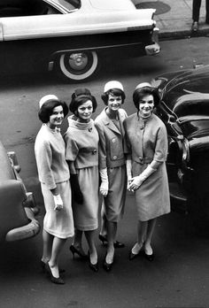 """""""The Jackie Look"""" - four models wearing Oleg Cassini suits & pillbox hats popularized by the First Lady. #vintage #1960s #fashion"""