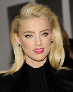 amber heard at the rum diary premiere in new york; get her mark. Amber Heard Cabelo, Amber Heard Hair, Sleek Hairstyles, Celebrity Hairstyles, Wedding Hairstyles, White Blonde Hair, Most Beautiful Hollywood Actress, Formal Makeup, Gorgeous Blonde
