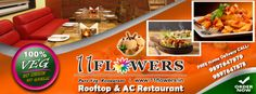 11 FLOWERS Rooftop & AC Restaurant Restaurant Order, Rooftop, Vegetarian, Pure Products, Meals, Vegan, Make It Yourself, Dining, Flowers