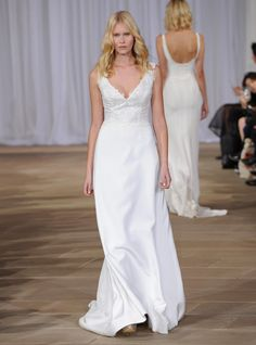 Ines Di Santo Fall 2016 sleeveless lace bodice A-line wedding dress | https://www.theknot.com/content/ines-di-santo-wedding-dresses-bridal-fashion-week-fall-2016
