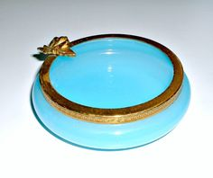 Vintage Blue Opaline Glass Pin Tray. May be missing a base that matches the rim.