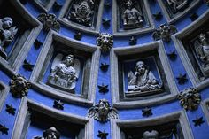 Detail of interior of the sculpted corbelled dome of the 17th Century Renaissance Boyim Chapel, Lviv, Ukraine