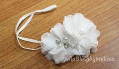 Baby Girl Flower Headband, Newborn Headband, Baptism Headband, White Christening Headband
