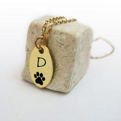 Personalized Dog Paw Necklace Initial Necklace Pet by JonJonJewel, $43.00