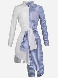 SheIn offers Contrast Striped Asymmetric Hem Shirt Dress & more to fit your fashionable needs. Diy Fashion, Fashion Dresses, Womens Fashion, Fashion Design, Chic Outfits, Girl Outfits, Vetement Fashion, Mode Style, The Dress