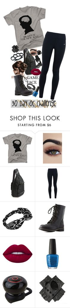"""30 Day OC challenge: Day ten"" by wibbly-wobbly-timey-wimey-dork on Polyvore featuring Patagonia, NIKE, Charlotte Russe, Lime Crime, OPI, Black, OC, fight, Brainyisthenewsexy and 30dayocchallenge"