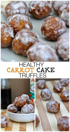 Healthy Carrot Cake Truffles- these delicious, high protein, low in sugar and gluten free truffles are the perfect dessert idea or healthy enough to be a snack any time of the day- The perfect gift too (for foodies! Gluten Free Desserts, Healthy Desserts, Just Desserts, Delicious Desserts, Yummy Food, Tasty Snacks, Healthy Carrot Cakes, Healthy Sweets, Healthy Food