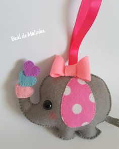 PDF Pattern Elephant Baby Girl Animal Ornament by Bauldemalinka Felt Crafts, Crafts To Make, Felt Ornaments Patterns, Baby Girl Elephant, Needle Felting Tutorials, Elephant Pattern, Baby Pillows, Felt Toys, Felt Animals