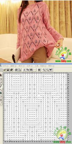 Lace Knitting Patterns, Crochet Square Patterns, Crochet Chart, Knitting Stitches, Knitting Designs, Knit Crochet, Borboleta Crochet, Crochet Clothes, Tunic